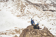 Spanish Rab Team during a backpacking activity in Estany Colomina, Pirineos National Park, Spain.