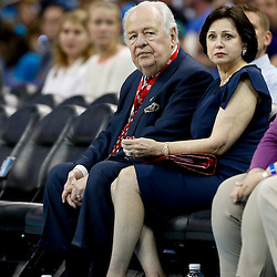 Apr 14, 2013; New Orleans, LA, USA; New Orleans Hornets owner Tom Benson watches with his wife Gayle Benson watch the franchises final home game against the Dallas Mavericks at the New Orleans Arena. The Mavericks defeated the Hornets 107-89. The game was the final home game for the Hornets franchise as they will be rebranded as the New Orleans Pelicans starting next season. Mandatory Credit: Derick E. Hingle-USA TODAY Sports