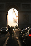 France. Paris. 8th district. arc de triomphe, place de l'etoile and Champs Elysees