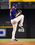 Sep. 15, 2012; Phoenix, AZ, USA; Arizona Diamondbacks pitcher Wade Miley (36) pitches during the game against the San Francisco Giants in the first inning at Chase Field. Mandatory Credit: Jennifer Stewart-US PRESSWIRE