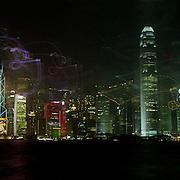HONG KONG-OCTOBER 14: A Panoramic view of the Hong Kong skyline and harbour at night on October 14, 2007 in Hong Kong, China.