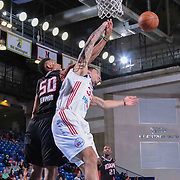Delaware 87ers Forward Drew Gordon (32) drives towards the basket as Idaho Stampede Forward Jerrelle Benimon (50) blocks the shot attempt in the first half of a NBA D-league regular season basketball game between the Delaware 87ers and the Idaho Stampede (Utah Jazz) Tuesday, Feb. 03, 2015 at The Bob Carpenter Sports Convocation Center in Newark, DEL