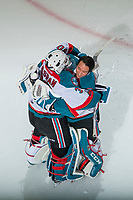 KELOWNA, CANADA - DECEMBER 30: Roman Basran #30 is congratulated by James Porter #1 of the Kelowna Rockets on the shoot out win against the Victoria Royals on December 30, 2017 at Prospera Place in Kelowna, British Columbia, Canada.  (Photo by Marissa Baecker/Shoot the Breeze)  *** Local Caption ***