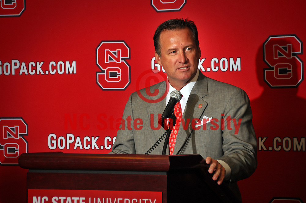 Mark Gottfried, the new NC State men's basketball coach, addresses the media during the press conference.