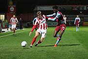 George Lloyd and Iyiola Adebayo   during the leasing.com EFL Trophy match between Cheltenham Town and U21 West Ham United at Jonny Rocks Stadium, Cheltenham, England on 8 October 2019.