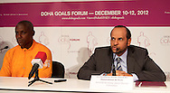 Picture by Paul Terry/Focus Images Ltd. 07545642257.31/07/12.Carl Lewis (L) and His Exellency Sheikh Saoud Bin Abdulrahan Al-Than during a press conference to announce the Doha GOALS Forum. GOALS is a  new initiative with the aim to build a community of hundreds of leaders from around the world who share the conviction that sport is a crucial vehicle for social and economic development.