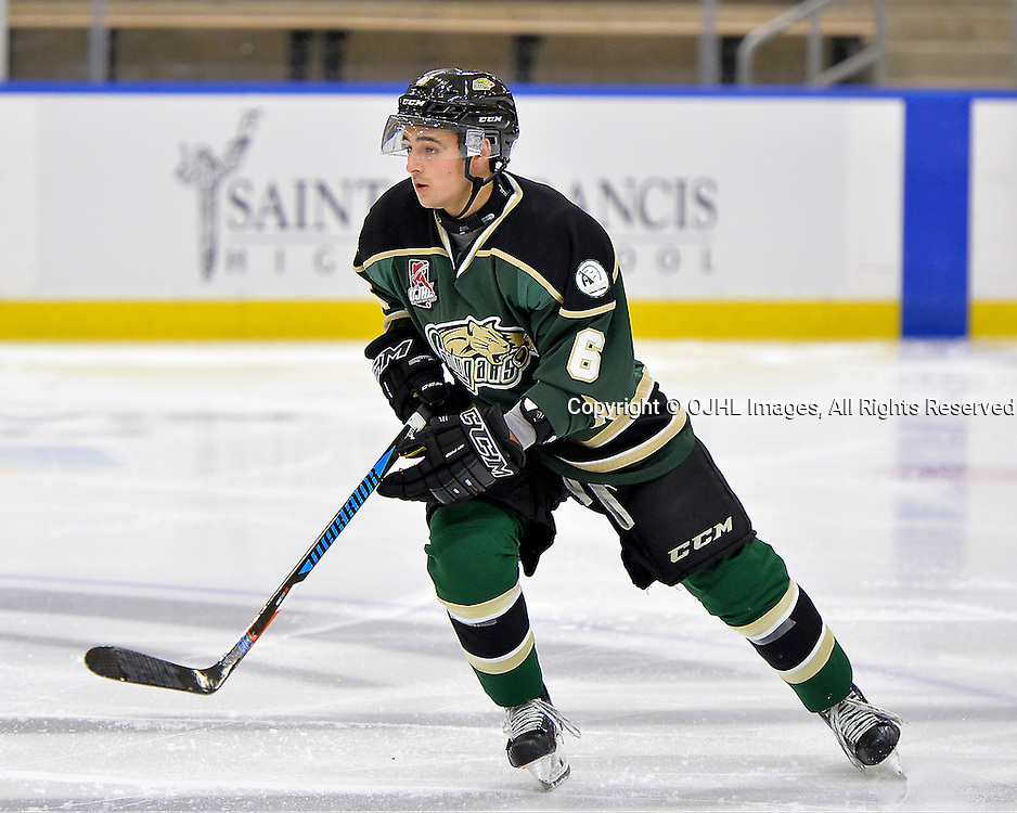 BUFFALO, NY - SEP 26, 2016:  Ontario Junior Hockey League game between Toronto and Cobourg, Jordan DiCicco #6 of the Cobourg Cougars during the first period.<br /> (Photo by Shawn Muir / OJHL Images)
