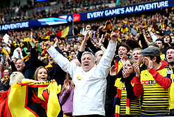 Watford fans celebrate Troy Deeney of Watford scoring an equalising goal  - Mandatory by-line: Robbie Stephenson/JMP - 24/04/2016 - FOOTBALL - Wembley Stadium - London, England - Crystal Palace v Watford - The Emirates FA Cup Semi-Final
