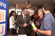 "16200Life Sciences LEGISLATOR Day.Rich Greenlee, Prof, Dept. of Social work(left)..Susan Sarnoff, Prof, Dept. of Social work(Middle)..Daniel Richards,right, edcation student talks about the ""No Child Left Behind"" Program that needs funding"