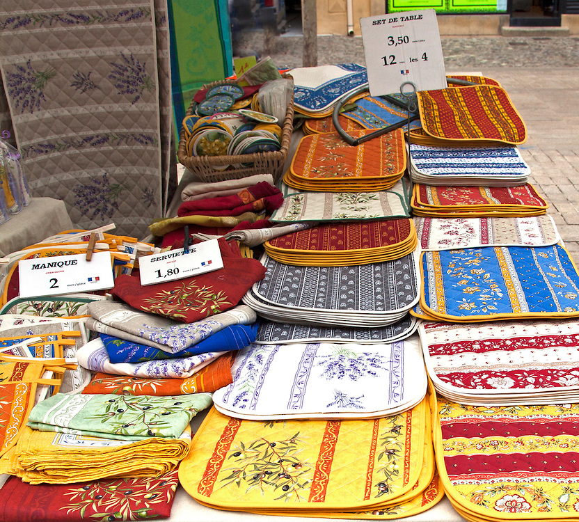 Provencal linens provide bright art at the Cours Mirabeau public market in Aix-en-Provence.