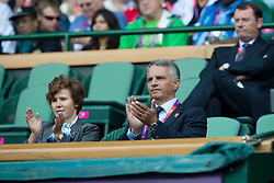 03.08.2012, Wimbledon, London, GBR, Olympia 2012, Tennis, im Bild Bundesrat Didier Burkhalter verfolgt das Spiel von Roger Federer mit seiner Gattin // during Tennis, at the 2012 Summer Olympics at Wimbledon, London, United Kingdom on 2012/08/03. EXPA Pictures © 2012, PhotoCredit: EXPA/ Freshfocus/ Valeriano Di Domenico..***** ATTENTION - for AUT, SLO, CRO, SRB, BIH only *****