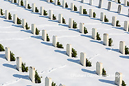 65095-03102 Wreaths on graves in winter Jefferson Barracks National Cemetery St. Louis,  MO