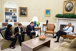 President Barack Obama holds a meeting to prep for his speech to the United Nations General Assembly, in the Oval Office, Sept. 22, 2014. Seated from left are Senior Presidential Speechwriters Sarada Peri and David Litt, and Director of Speechwriting Cody Keenan. (Official White House Photo by Pete Souza)<br /> <br /> This official White House photograph is being made available only for publication by news organizations and/or for personal use printing by the subject(s) of the photograph. The photograph may not be manipulated in any way and may not be used in commercial or political materials, advertisements, emails, products, promotions that in any way suggests approval or endorsement of the President, the First Family, or the White House.