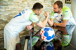 Luka Zvizej and Uros Zorman, former handball players of Slovenia posing for commercial of Rokometna simfonija 2019, on April 14, 2019, in Zrece, Slovenia. Photo by Vid Ponikvar / Sportida