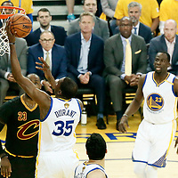 12 June 2017: Golden State Warriors forward Kevin Durant (35) goes for the layup during the Golden State Warriors 129-120 victory over the Cleveland Cavaliers, in game 5 of the 2017 NBA Finals, at the Oracle Arena, Oakland, California, USA.