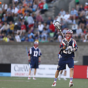 Brent Adams #28 of the Boston Cannons throws the ball during the game at Harvard Stadium on May 17, 2014 in Boston, Massachuttes. (Photo by Elan Kawesch)