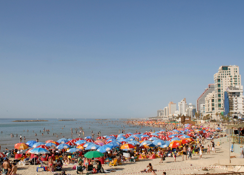 Tel Aviv beach on saturday afternoon