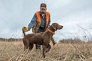 John Zeman hunts pheasants with his German Shorthair Pointer, Luna.