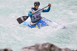 Peter Znidarsic of Slovenia competes in 3 x C1 men at sprint teams race at European wildwater Canoeing Championships Soca 2013 on May 12, 2013 in Trnovo ob Soci, Soca river, Slovenia. (Photo By Vid Ponikvar / Sportida)