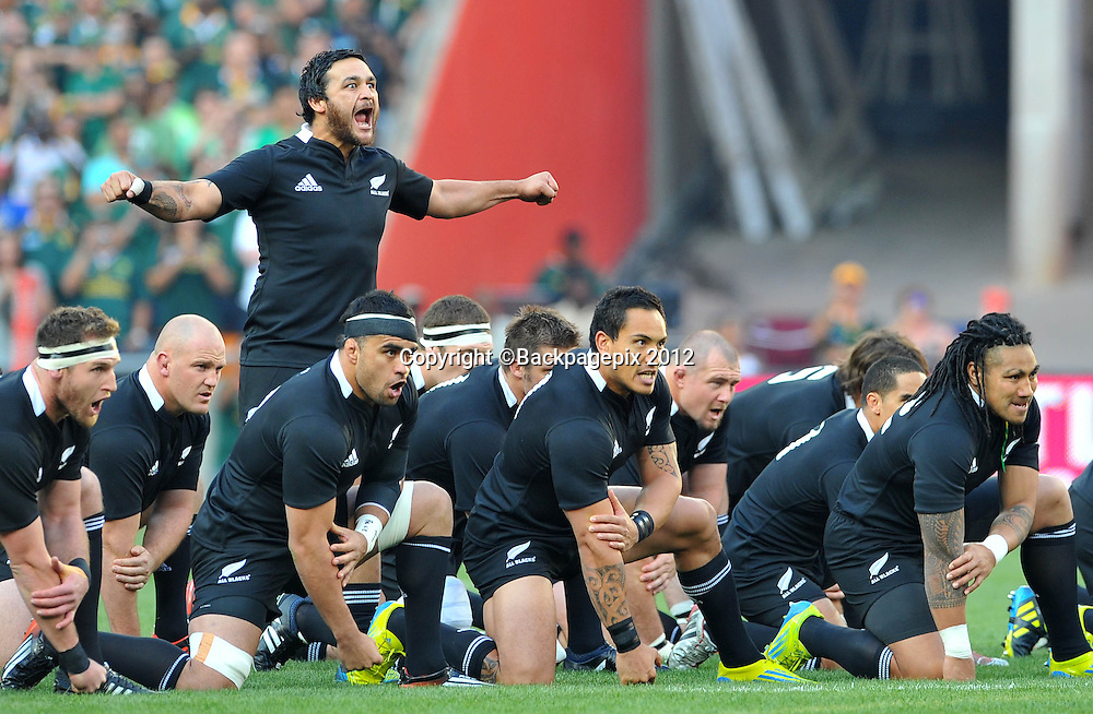 GV of New Zealand Haka during the 2012 Castle Rugby Championship on the 6 October 2012 at Soccer City in Johannesburg ©Chris Ricco/BackpagePix