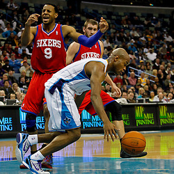 January 4, 2012; New Orleans, LA, USA; New Orleans Hornets point guard Jarrett Jack (2) steals the ball from Philadelphia 76ers small forward Andre Iguodala (9) during the second half of a game at the New Orleans Arena. The 76ers defeated the Hornets 101-93.  Mandatory Credit: Derick E. Hingle-US PRESSWIRE