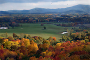 View facing south from the eastern slope of the Blue Ridge Mountains. Hawks soar over the landscape on the right. This countryside is about 25 miles south-west of  Charlottesville, Virginia .
