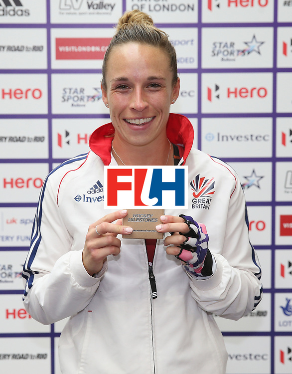 LONDON, ENGLAND - JUNE 25: Susannah Townsend of Great Britain with her Milestone award for 100 caps during the FIH Women's Hockey Champions Trophy match between Great Britain and Australia at Queen Elizabeth Olympic Park on June 25, 2016 in London, England.  (Photo by Alex Morton/Getty Images)