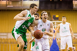 Luka Voncina of KD Ilirija and Dino Cinac of KK Krka during basketball match between KK Ilirija and KK Krka in Round #5 of Liga Nova KBM 2017/18, on November 4, 2017 in Hala Tivoli, Ljubljana, Slovenia. Photo by Ziga Zupan / Sportida