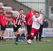Owen Neave runs at the Dykehead defence - Dundee Argyle v Dykehead AFC in the Scottish Sunday Trophy semi final at Excelsior Stadium, Airdrie, Photo: David Young<br /> <br />  - © David Young - www.davidyoungphoto.co.uk - email: davidyoungphoto@gmail.com