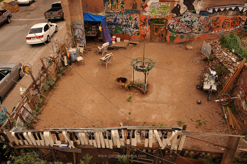 A lone dog patronizes a community dog park in Bisbee, Arizona, USA.