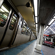 Chicago El Trains - Blue Line Tunnel at Jackson
