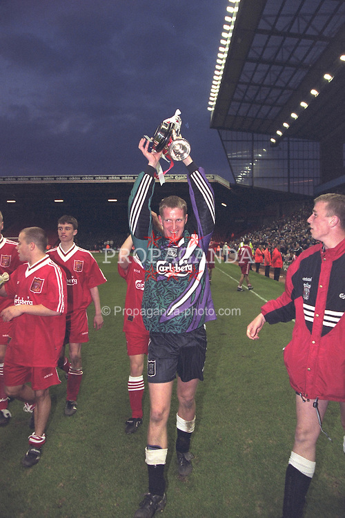 LIVERPOOL, ENGLAND - MAY 1996: Liverpool's Roy Naylor celebrates winning the FA Youth Cup after beating West Ham United during the Final 2nd Leg at Anfield. (Pic by David Rawcliffe/Propaganda)