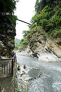 The dramatic canyon setting of the Wenshan Hotsprings in Taroko National Park, Taiwan.