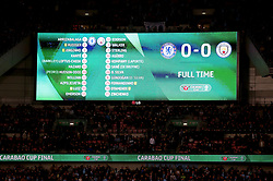 A general view of the scoreboard as the game remains 0-0 at the end of full time and proceeds into extra time during the Carabao Cup Final at Wembley Stadium, London.
