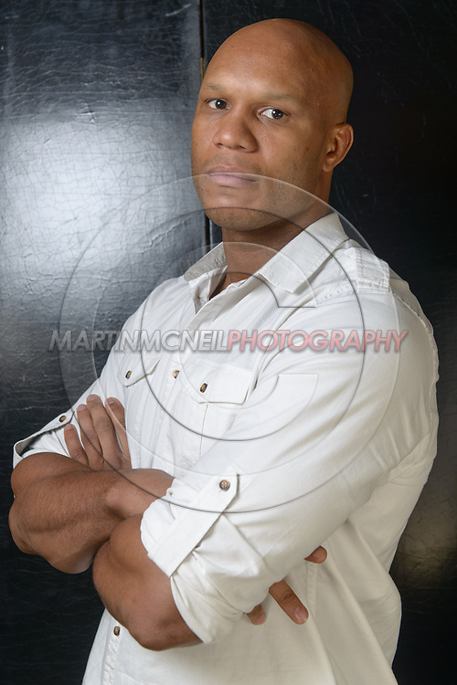 """LONDON, ENGLAND, APRIL 18, 2016: Linton Vassell poses for a portrait following the event announcement press conference for """"Bellator 158: Slice vs. Thompson"""" inside the Four Seasons Hotel in Park Lane, London (© Martin McNeil)"""