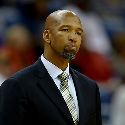 Oct 23, 2013; New Orleans, LA, USA; New Orleans Pelicans head coach Monty Williams against the Miami Heat during the second half of a preseason game at New Orleans Arena. The Heat defeated the Pelicans 108-95. Mandatory Credit: Derick E. Hingle-USA TODAY Sports