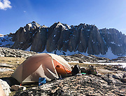 Ben Blain settles into camp just above 11,500 feet just beneath Mount Whitney on May 30, 2018. While only 6 p.m., in just a few hours the alarm will go off to start the journey to the summit of Whitney, which at 14,505 feet, is the tallest point in the contiguous U.S.