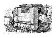"Carrier. ""Try zideways, Mrs Jones, try zideways!"" Mrs Jones. ""Lar' bless 'ee, John, I ain't got no zideways!"" (a large woman tries to get on board a horse drawn coach)"