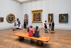 Interior of Gemaldegalerie museum, at Kulturforum in Berlin, Germany