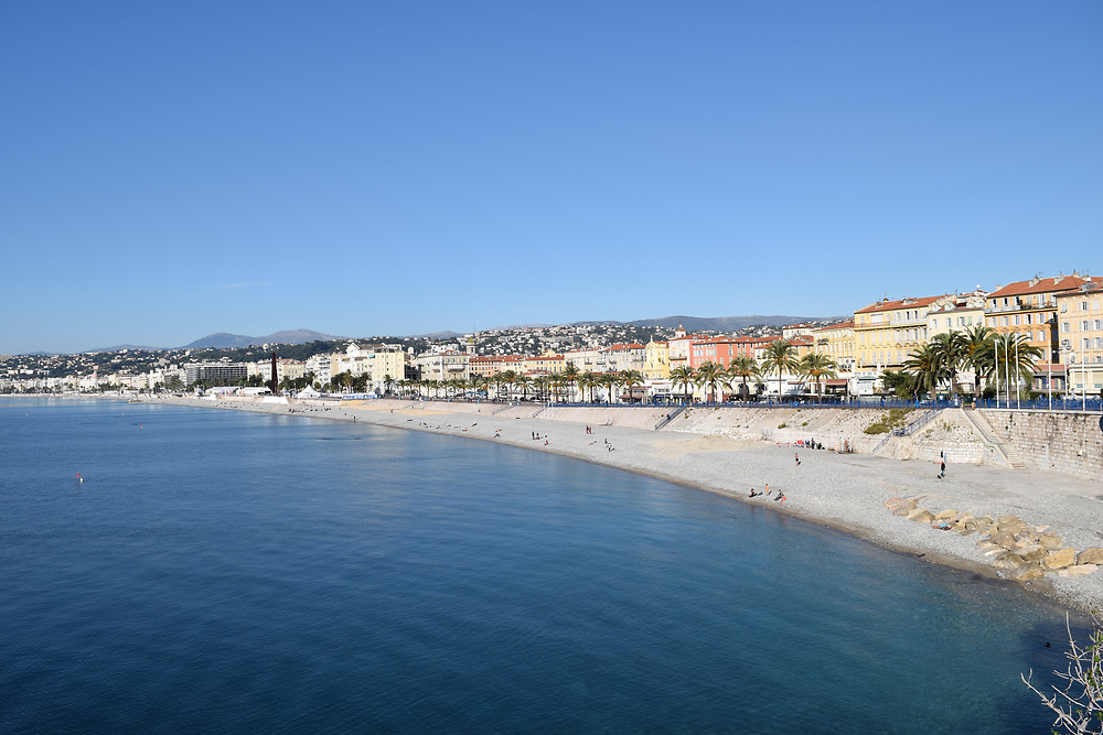 The Beach at Nice, France from the Chateaux are near the port