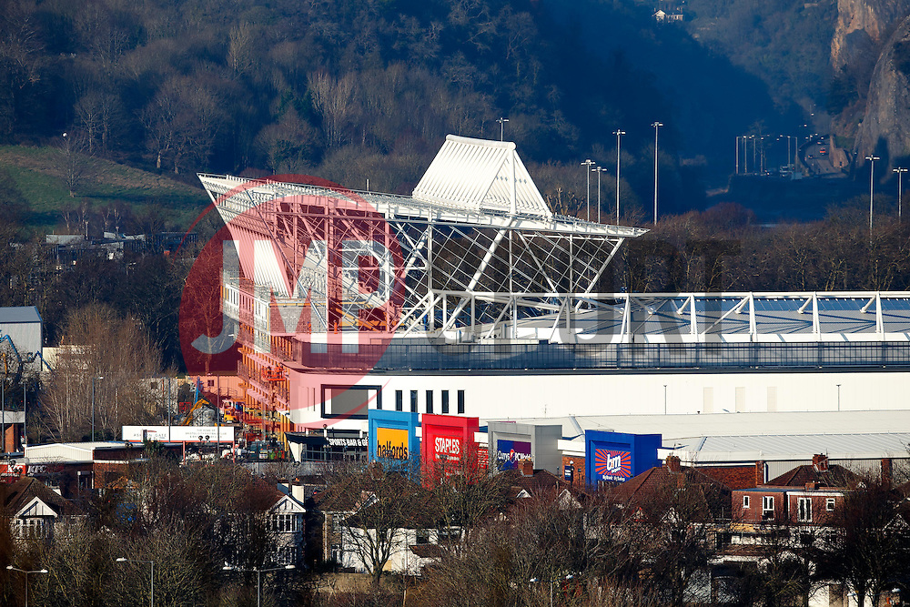A General View of Ashton Gate Stadium, home of Bristol City Football Club and Bristol Rugby, as the new West Stand takes shape - Mandatory byline: Rogan Thomson/JMP - 20/01/2016 - SPORT - Ashton Gate Stadium - Bristol, England.
