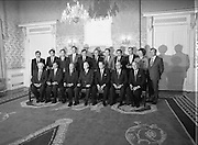 New Fianna Fáil Administration Sworn In.  (R52)..1987..10.03.1987..03.10.1987..10th March 1987..After their win in the recent general election the new Fianna Fáil government,under the leadershio of Charles Haughey, was sworn in and given their seals of offce at a ceremony in Áras an Uachtaráin today. The government received their seals from President Patrick Hillery...President Hillery is pictured with the incoming government at Áras an Uachtaráin..Front row..Mr John Wilson TD, Communications..Ray McSharry TD, Finance and Public Service..Charles Haughey TD, Taoiseach and Gaeltacht..President Patrick Hillery..Brian Lenihan TD, Tanaiste and Foreign Affairs..Gerry Collins TD, Justice..Michael O'Kennedy TD, Agriculture...Back Row..John Murray, Attorney General..Bertie Ahern TD, Labour..Dr Michael Woods TD, Social Welfare..Padraig Flynn TD, Environment..Ray Burke TD, Energy..Albert Reynolds TD, Industry and Commerce..Dr Rory O'Hanlon TD, Health..Brendan Daly TD, Tourism/Fisheries and Forestry..Michael Noonan TD, Defence..Mary O'Rourke TD, Education..Vincent Brady TD, Chief Whip.