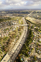 Aerial photograph looking east at Mission Valley Freeway, San Diego, California