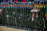 29 SEPTEMBER 2014 - NAKHON NAYOK, NAKHON NAYOK, THAILAND: Thai soldiers stand at attention on the parade ground at Chulalomklao Royal Military Academy during the retirement ceremony for more than 200 Thai generals including Gen. Prayuth Chan-ocha, who led the 22 May coup against the civilian government earlier this year. Prayuth has been chief of the Thai army since 2010. After his retirement, Gen. Prayuth will retain his posts as head of the junta's National Council for Peace and Order (NCPO) and Prime Minister of Thailand. Under Thai law, military officers must retire at 60 years of age. The 200 generals who retired with Prayuth were also his classmates at the Chulalomklao Royal Military Academy in Nakhon Nayok.    PHOTO BY JACK KURTZ