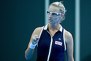 Mirjana Lucic - Baroni of Croatia competes in WTA women's tennis tournament BNP Paribas Katowice Open 2014 at Spodek Hall in Katowice, Poland.<br /> <br /> Poland, Katowice, April 09, 2014<br /> <br /> Picture also available in RAW (NEF) or TIFF format on special request.<br /> <br /> For editorial use only. Any commercial or promotional use requires permission.<br /> <br /> Mandatory credit:<br /> Photo by &copy; Adam Nurkiewicz / Mediasport