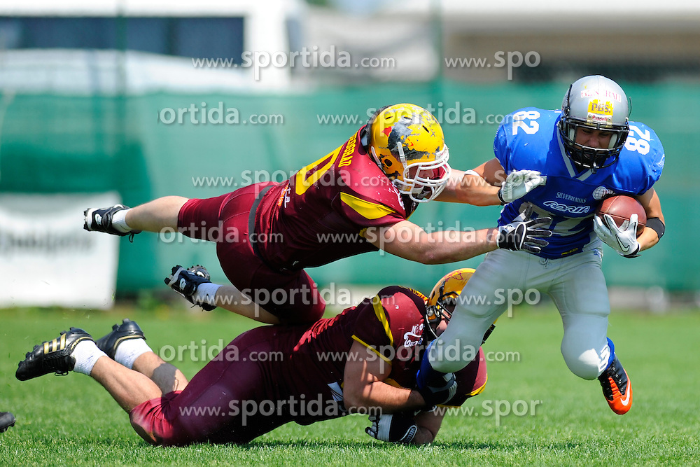 Matej Pavlic (SLO) at the match of american football, league CEFL between Silverhawks Ljubljana and Beograd Vukovi, on may 22, 2011 on Stadion NK Livar, Ivan?na Gorica, Slovenia. (Photo by Urban Urbanc / Sportida.com)
