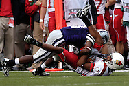Illinois State wide receiver Laurent Robinson (bottom) is rolled over by Kansas State's Bryan Baldwin (top) after making a catch in the first half, at Bill Snyder Family Stadium in Manhattan, Kansas, September 2, 2006.  The Wildcats beat the Redbirds 24-23.