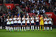 The England players stand for a minutes applause in memory of Ray Wilkins during the FIFA Women's World Cup UEFA Qualifier match between England Ladies and Wales Women at the St Mary's Stadium, Southampton, England on 6 April 2018. Picture by Graham Hunt.