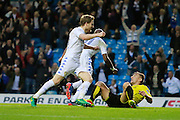 Leeds United's Souleymane Doukara (11) scores to make the score 2-0 to Leeds United and celebrates during the EFL Sky Bet Championship match between Leeds United and Burton Albion at Elland Road, Leeds, England on 29 October 2016. Photo by Richard Holmes.