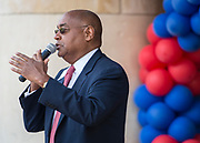 Rodney Ellis comments during a groundbreaking ceremony at Lamar High School, March 30, 2017.